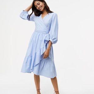 NEW! ANN TAYLOR LOFT (8) ruffle wrap Dress stripe